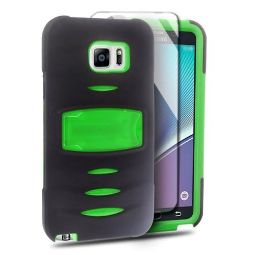 Insten Rubber Dual Layer Hard Cover Case with Stand For Samsung Galaxy Note 5 - Black/Green