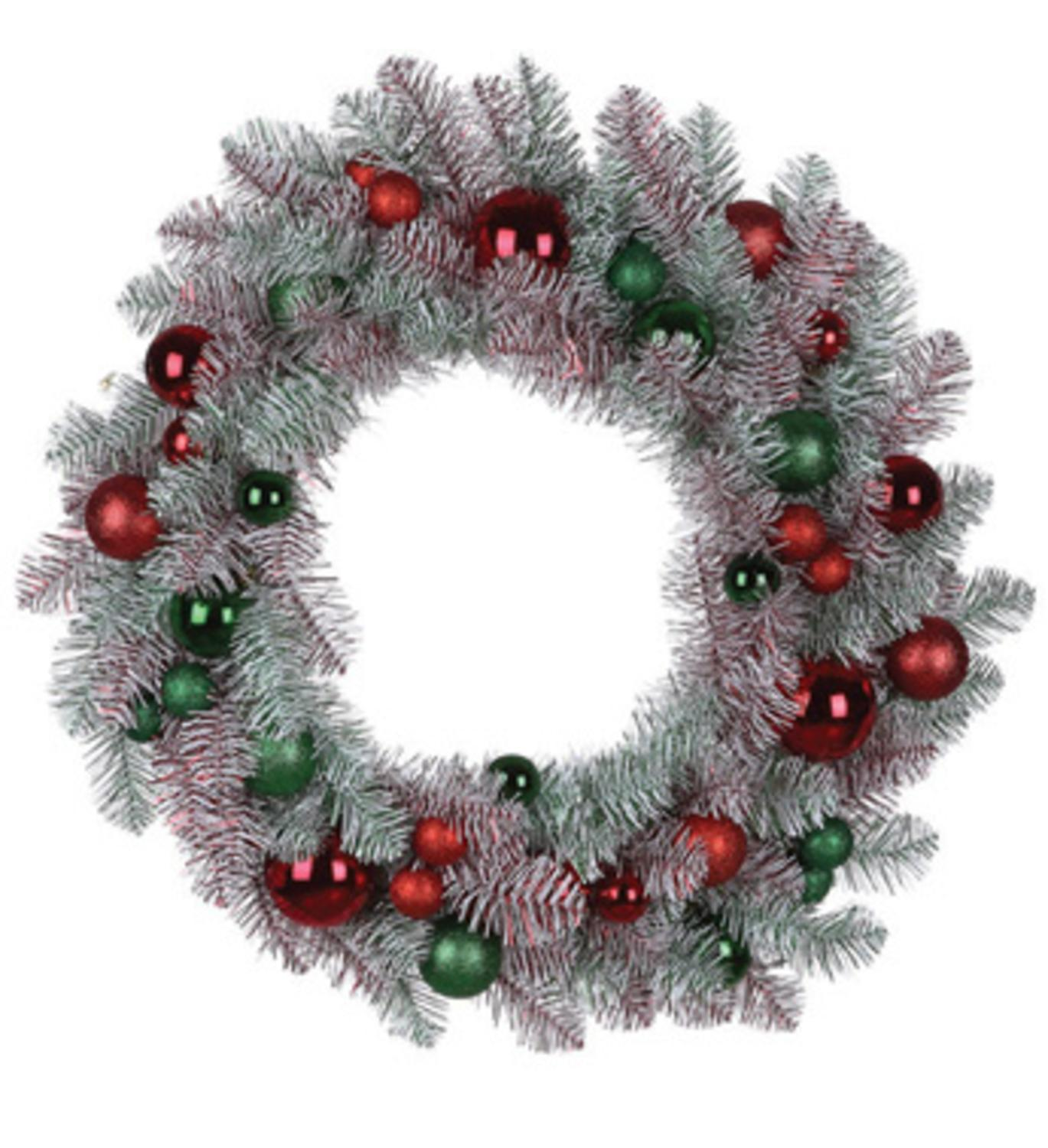 "24"" Artificial Mix Candy Red and Green Flocked and Decorated Christmas Wreath- Unlit"