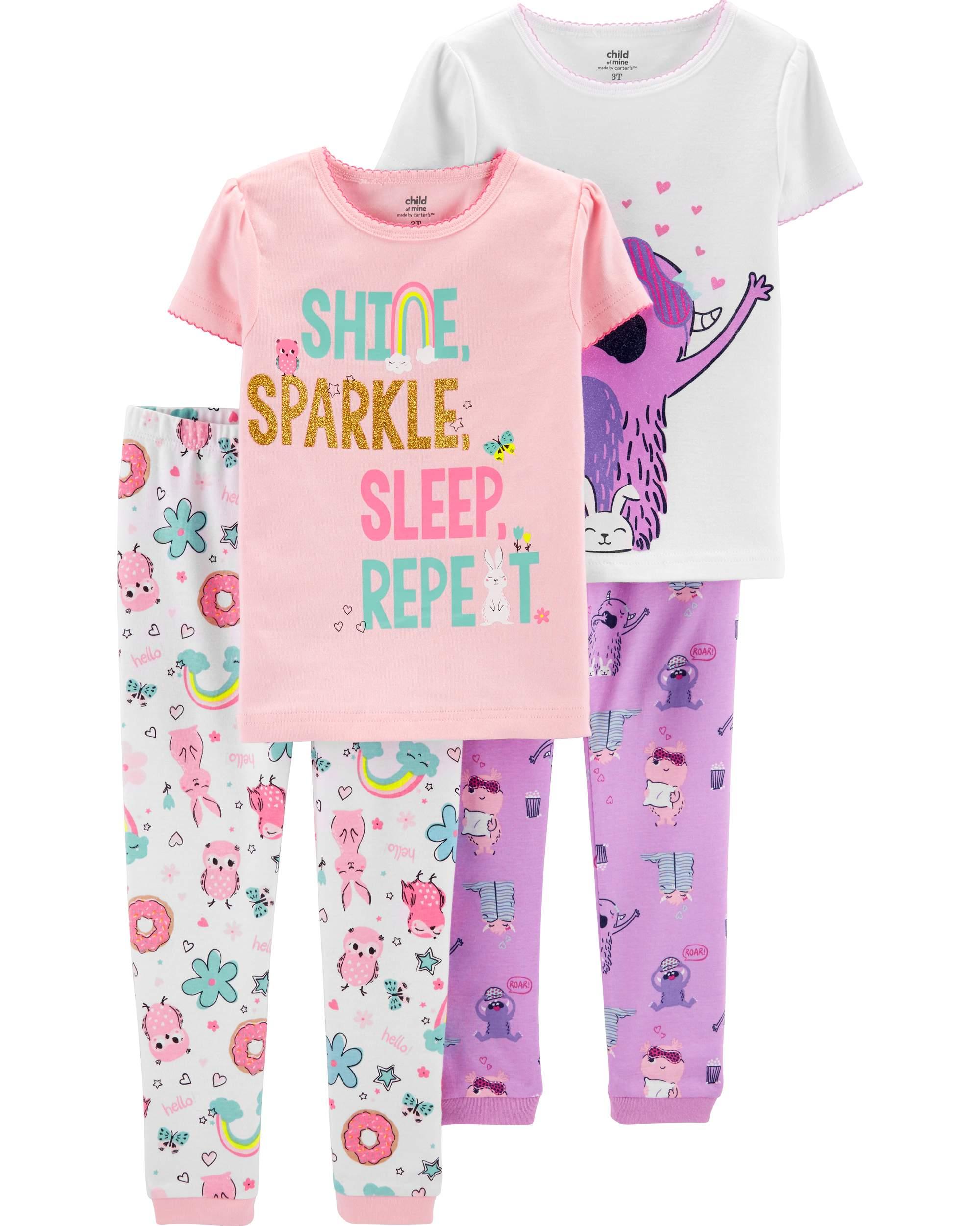 Short Sleeve Cotton Tight Fit Pajamas, 4pc Set (baby girls)