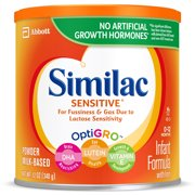 Similac Sensitive For Fussiness & Gas, Baby Formula, 6 Count Powder, 12 oz Can
