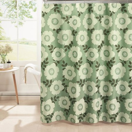 Dione Diamond Weave Textured Shower Curtain With Metal Roller Hooks