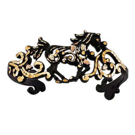 Black Hills Gold Black Bracelet (Black Powder Coat Horse Cuff Bracelet from Landstroms Black Hills)