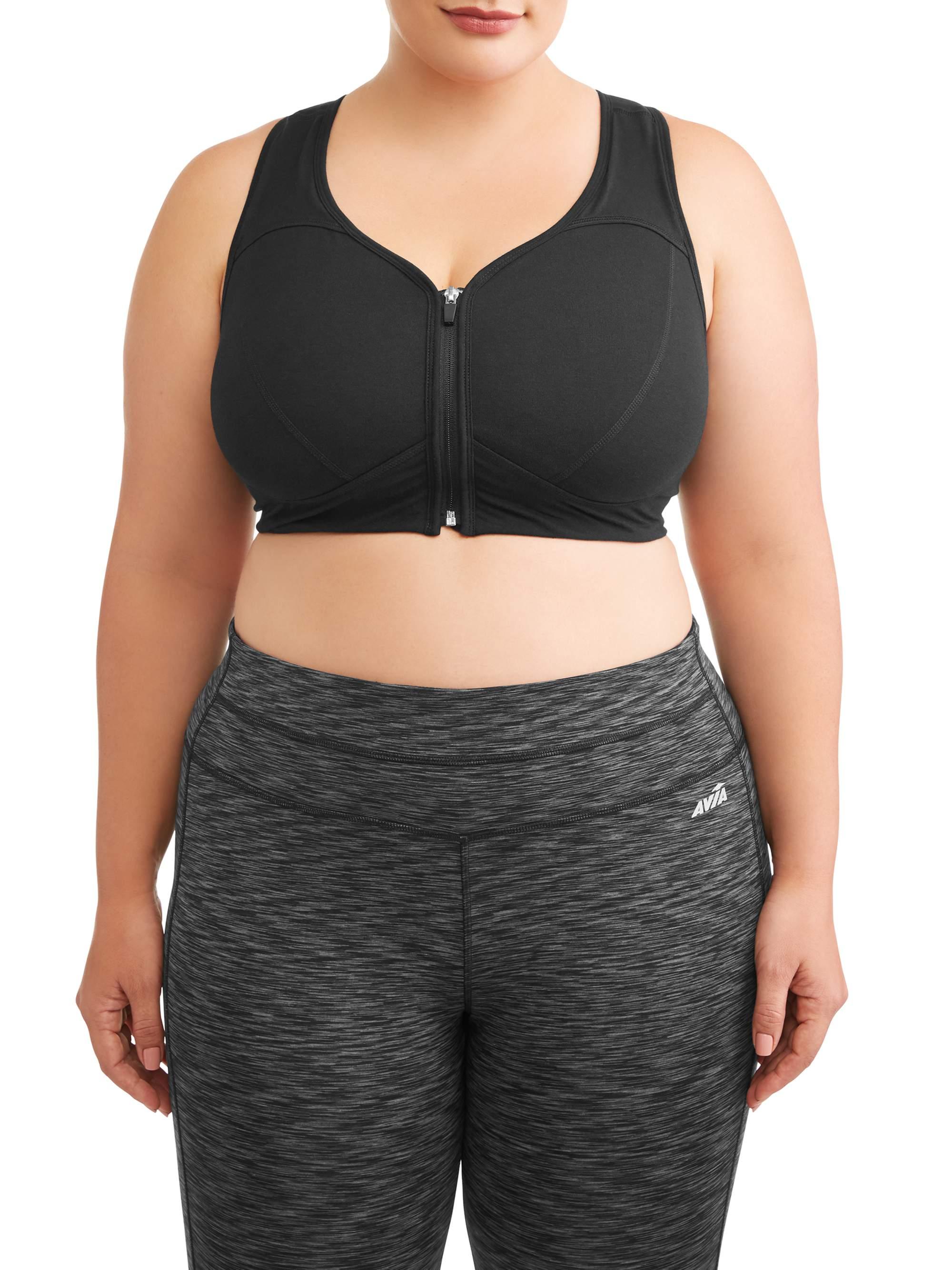 Athletic Works Women's Plus Zip Front Bra