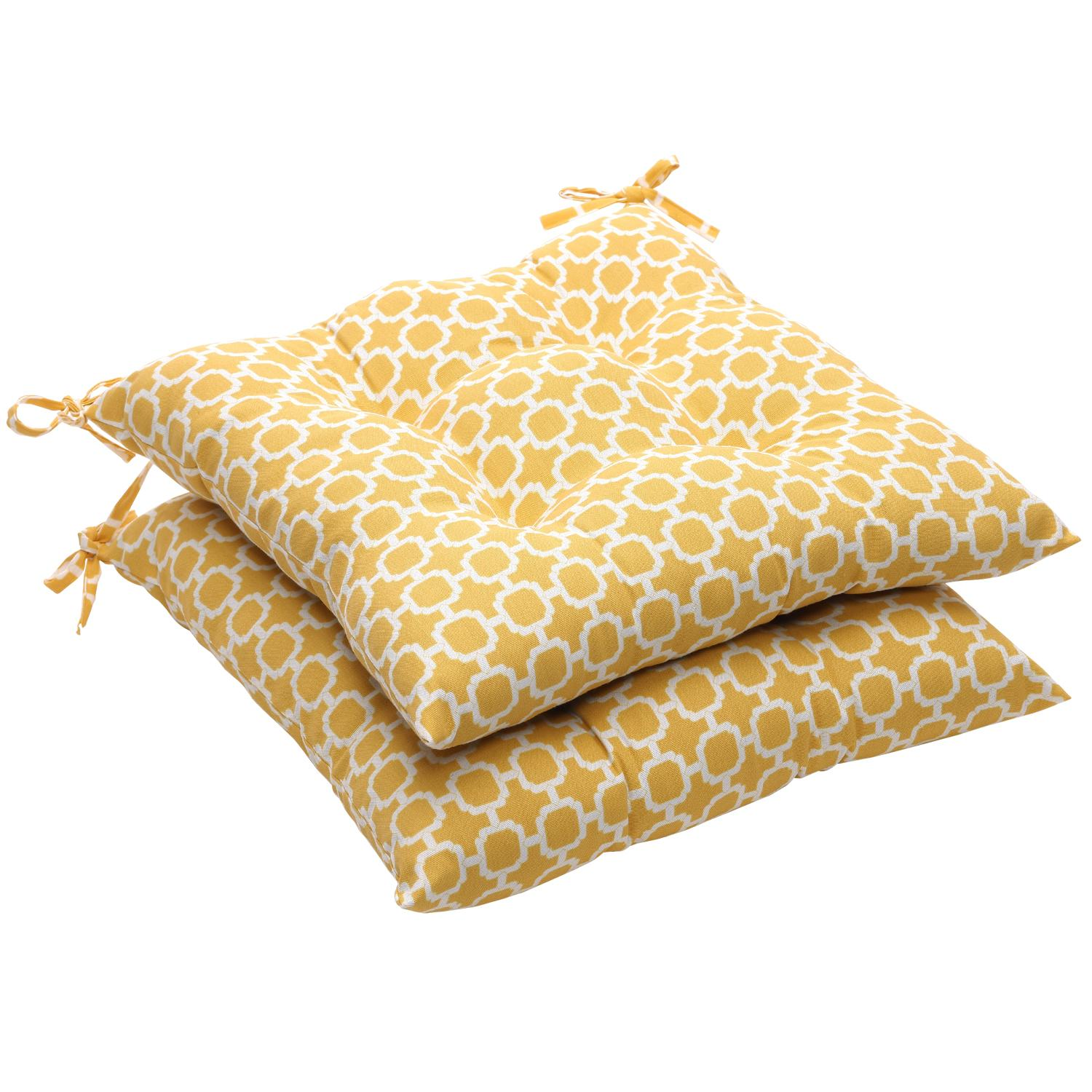 """Pack of 2 Eco-Friendly Recycled Lemon Mosaic Tufted Outdoor Seat Cushions 19"""""""
