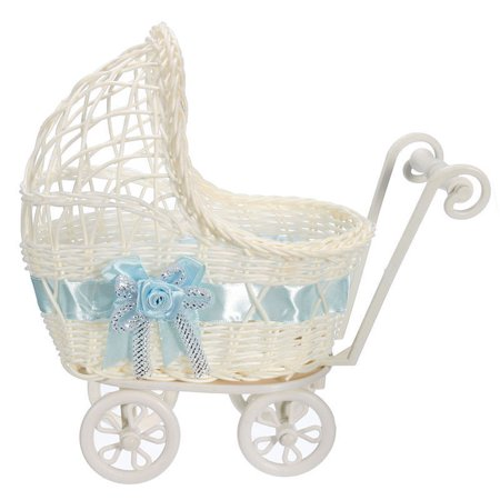 Party Favors Baby Shower Wicker Baby Carriage Stroller Centerpiece (Baby Rattle Favors Baby Shower)