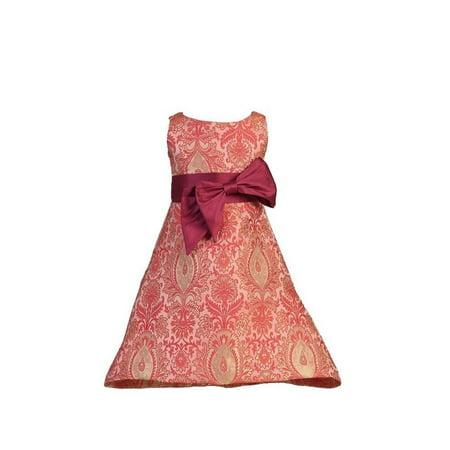 Angels Garment Toddler Girls Red Dupioni Bow Pink Brocade Dress 3T