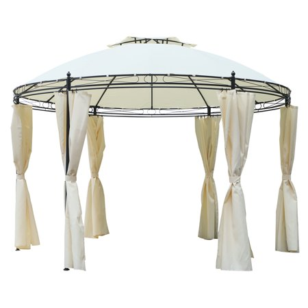 Outsunny 11.5' Steel Fabric Round Soft Top Outdoor Patio Dome Gazebo Shelter with Curtains - Cream White - Outdoor Fabric Curtains