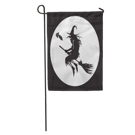 Bat Silhouette (SIDONKU Autumn Silhouette of Flying Witch The Moon Bat Besom Black Garden Flag Decorative Flag House Banner 28x40)