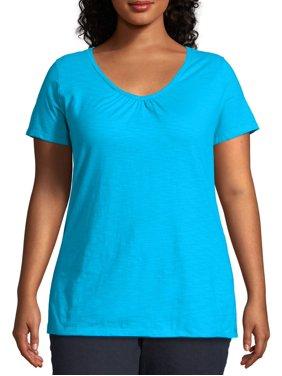 Just My Size Women's Plus Size Slub Shirred V-Neck