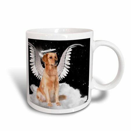 3dRose Golden Retriever Angel Dog Sitting on a Cloud with a cute Halo and Angel Wings, Ceramic Mug, 11-ounce