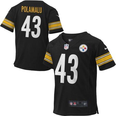 Nike Troy Polamalu #43 Pittsburgh Steelers Toddler Game Jersey - Black - 2T ()