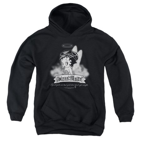 Betty Boop - Street Angel - Youth Hooded Sweatshirt - X-Large Angel Wings Hooded Sweatshirt