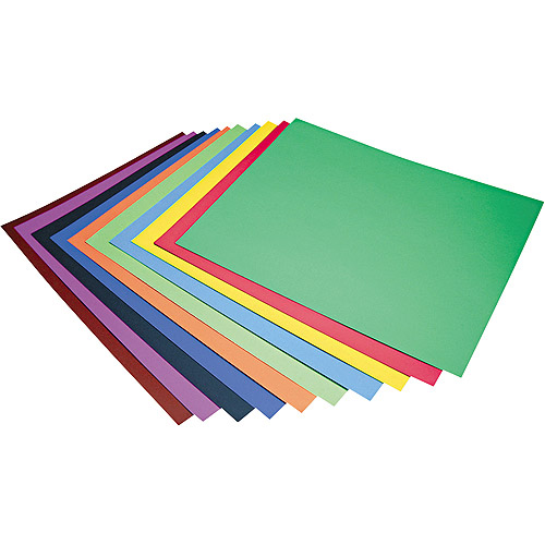 Pacon Four-Ply Railroad Board in Ten Assorted Colors, 28 x 22, 100/Carton