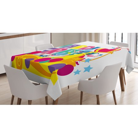 Mardi Gras Costumes (Mardi Gras Tablecloth, Festival Parade Theme Dancers in Costumes Colorful Dots Stars Abstract Design, Rectangular Table Cover for Dining Room Kitchen, 52 X 70 Inches, Multicolor, by)