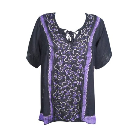 - Mogul Womens Tunic Top Short Sleeves Rayon Boho Chic Summer Style Floral Embroidered Ethnic Blouse