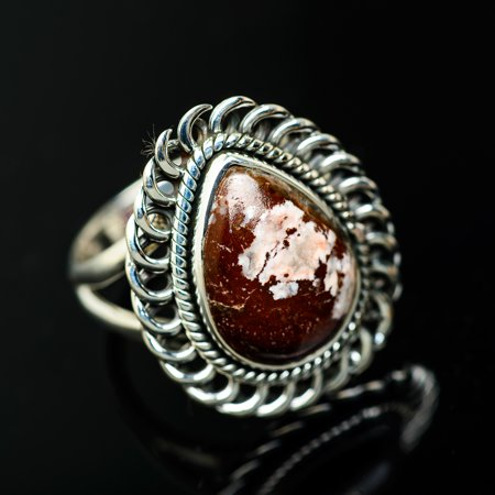 Peanut Wood Jasper Ring Size 8.5 (925 Sterling Silver)  - Handmade Boho Vintage Jewelry RING936158 (Ana Silver Co Jasper Ring)