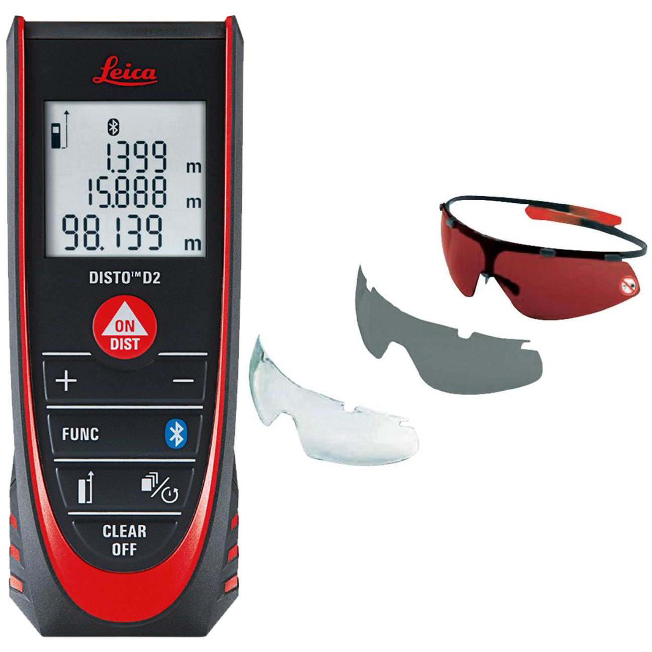 Leica DISTO D2 Laser Distance Meter with Bluetooth + GLB30 Laser Glasses (3-Pack)