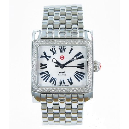 Mother Of Pearl Silver Wrist Watch - MICHELE DIAMOND MW2 MINI Mother of Pearl Ladies Watch MWW07b000026 $2295