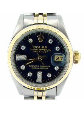 79e302803da77 Product Image Pre-Owned Ladies Rolex Two-Tone 14K SS Datejust Black Diamond  6917 (