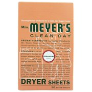 Mrs. Meyer's Clean Day Dryer Sheets, Geranium Scent, (Pack of 80)