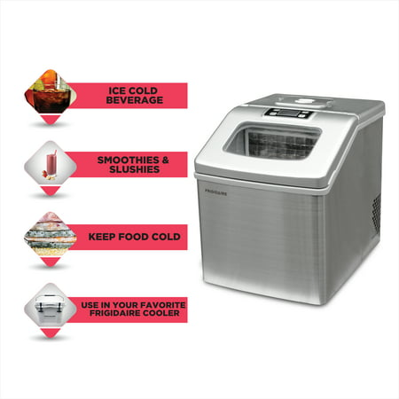 Frigidaire 40 lbs Countertop Clear Square Ice Maker, (EFIC452-SS-COM), Stainless Steel