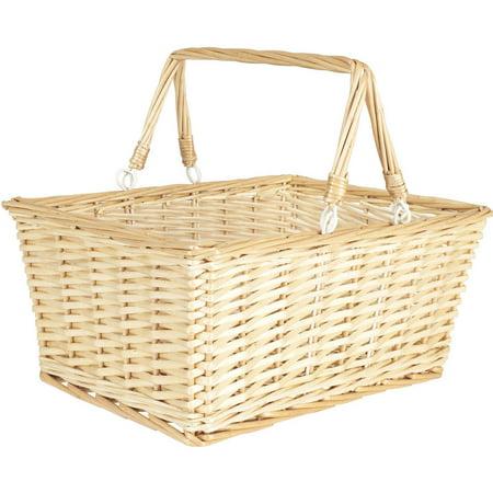 Natural File Basket - Household Essentials Open Top Market Basket with Handles