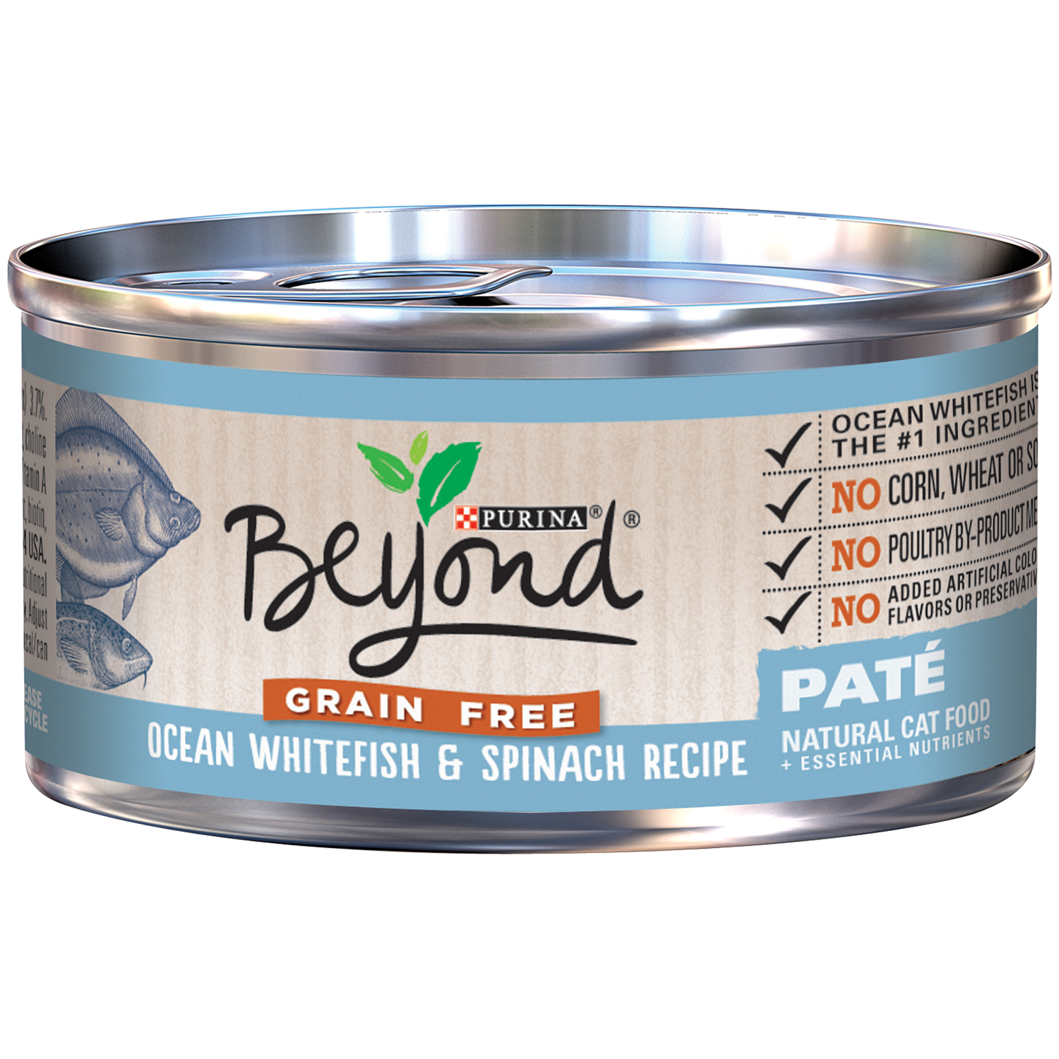 Purina Beyond Grain Free Ocean Whitefish & Spinach Recipe Pate Cat Food 3 oz. Can