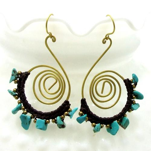 Aeravida Handmade Sterling Silver Funky Swirl Turquoise Dangle Earrings (Thailand)