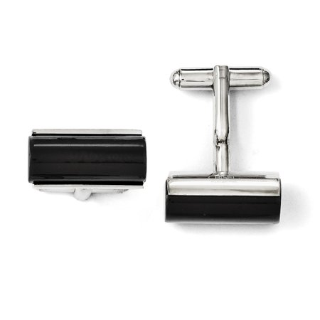 Roy Rose Jewelry CHISEL Stainless Steel Black Agate Polished Cuff (Agate Cufflinks)