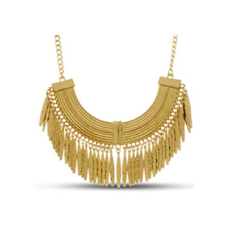Gold Toned Grecian Fringe Bib - Fringe Bib Necklace