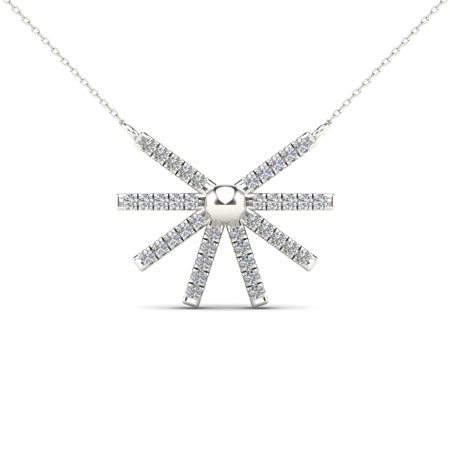 aaXia 10K White Gold 1/10ct TDW Diamond Sunburst Necklace