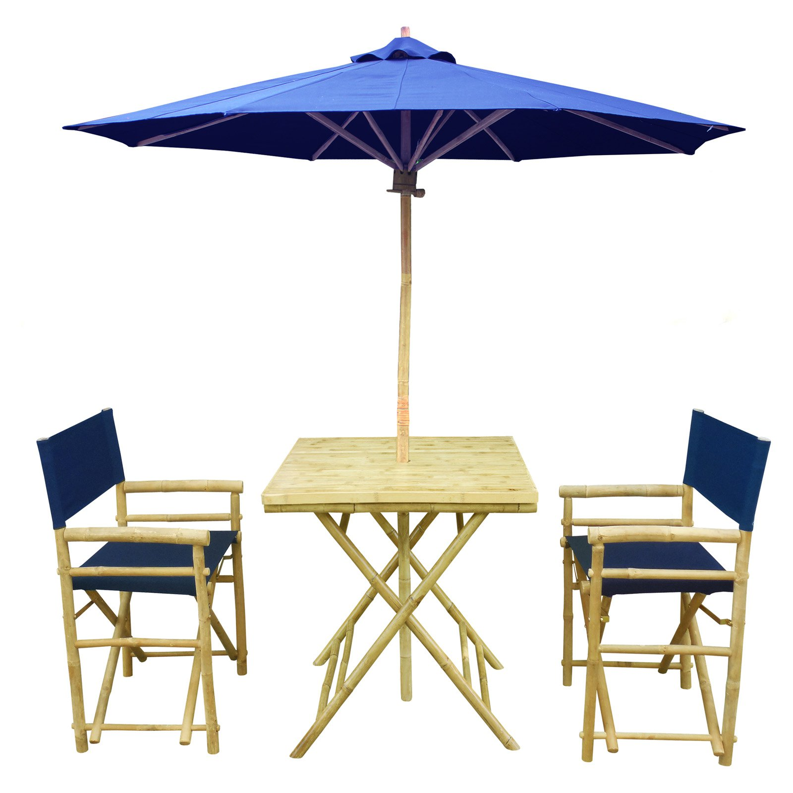 Zew Hand Crafted 4 Piece Square Bamboo Patio Bistro Set