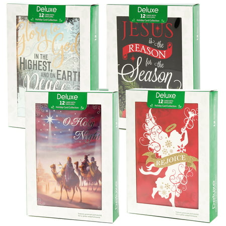 Papercraft (48 Pack) Merry Christmas Cards Deluxe Bulk Assortment Holiday Cards Pack with Foil & Glitter - Tinkerbell Christmas Cards