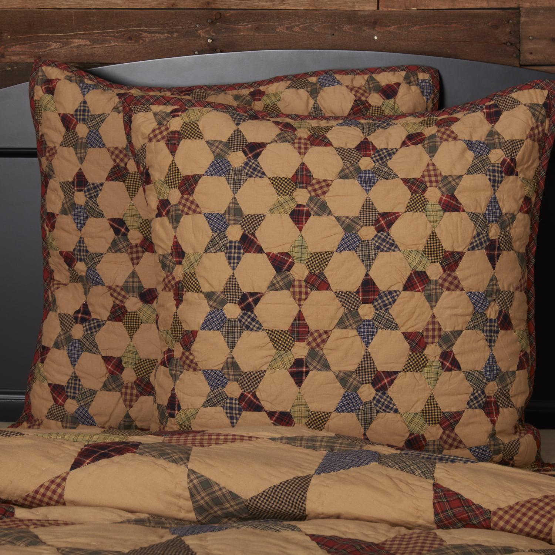 Dark Tan Primitive Bedding Kilton Star Cotton Hand Quilted Patchwork Square Euro Sham Walmart Com Walmart Com