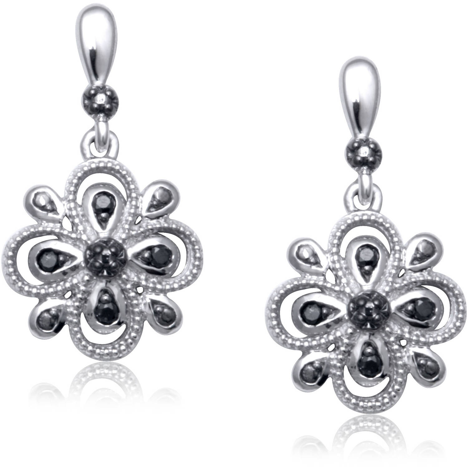 Enhanced Black Diamond Accent Sterling Silver Earrings