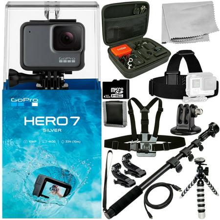 GoPro HERO7 HERO 7 Silver 12PC Accessory Bundle - Includes 32GB microSD Memory Card + Heavy Duty Monopod + Micro HDMI Cable + MORE ()