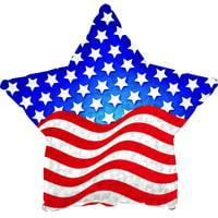 "Patriotic Prismatic Star 17"" Mylar Balloons - 10 Pack"