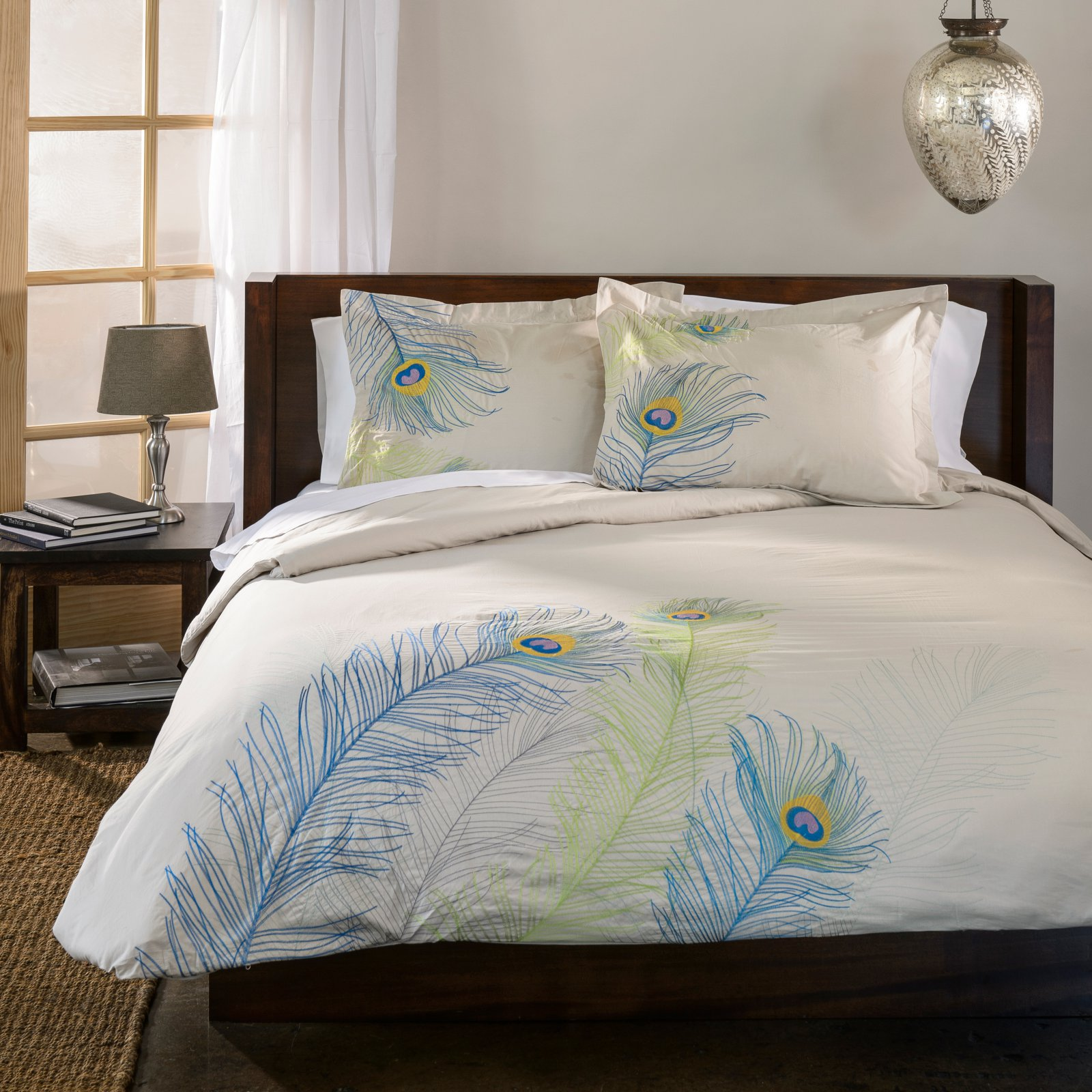 Superior Peacock Premium Cotton Embroidered 3-Piece Duvet Cover Set