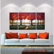 The Lighting Store 'Red Autumn' 3-piece Hand-painted Gallery-wrapped Canvas Art Set