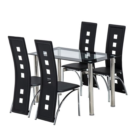 Zimtown 5 Piece Dining Table Set Glass Kitchen Breakfast Furniture w/4 Chair Dining