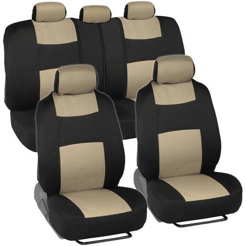 BDK PolyCloth Car Seat Covers, 2-Tone Split Bench EasyWrap Full Set