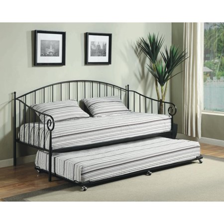 Twin size matt black metal day bed frame with pop up high Bedroom furniture high riser bed frame