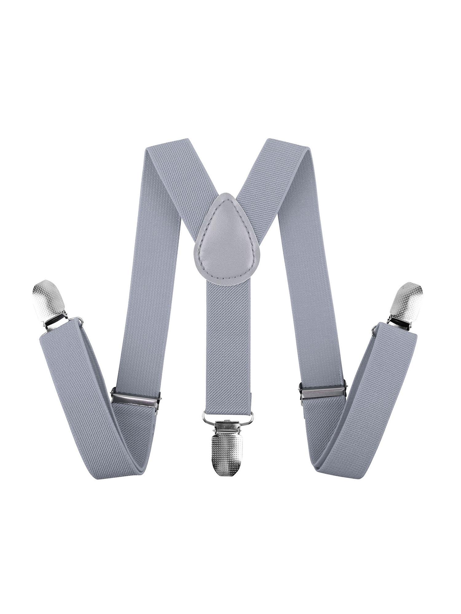 """Baby Boys Adjustable Elastic 1 inch Suspenders, Light Grey, 26"""""""