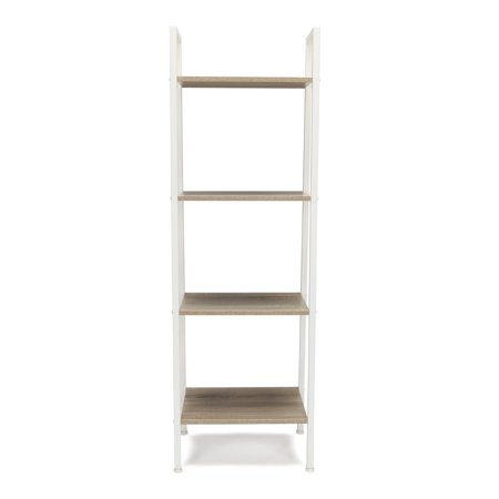 Essentials by OFM ESS-1045 4-Shelf Free Standing Ladder Bookshelf, Natural with White Frame