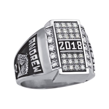 Pave Clasp (Personalized Men's Crest CZ Pave Top Class Ring available in Valadium, Silver Plus, 10kt and 14kt Yellow and White)