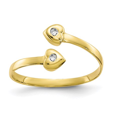 10k Yellow Gold Cubic Zirconia Cz Adjustable Cute Toe Ring Set