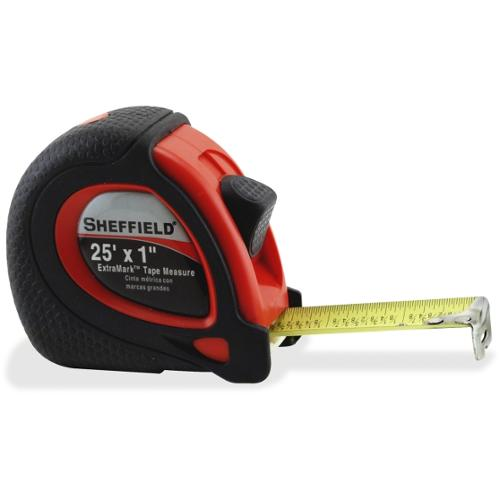 """Sheffield ExtraMark Tape Measure - 25 ft Length 1"""" Width - Imperial Measuring System - 1 Each - Black, Red"""