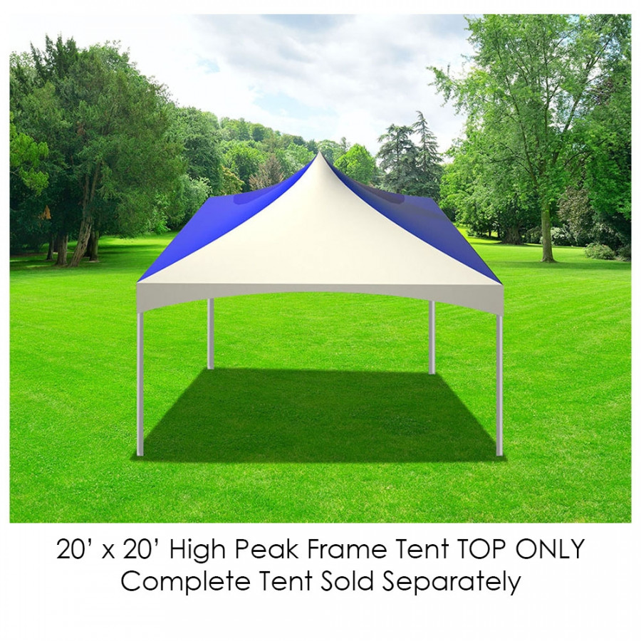 Party Tents Direct 20' x 20' Outdoor Wedding Canopy Event Tent Top ONLY, Solid Blue