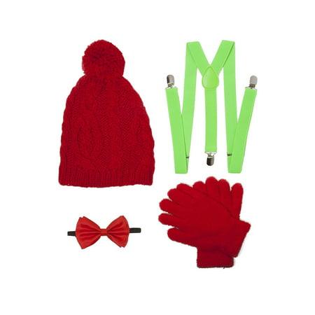 Christmas Caroling Elf Outift Kit (Pom Beanie, Suspenders, Bowtie, Gloves) - Elves Christmas
