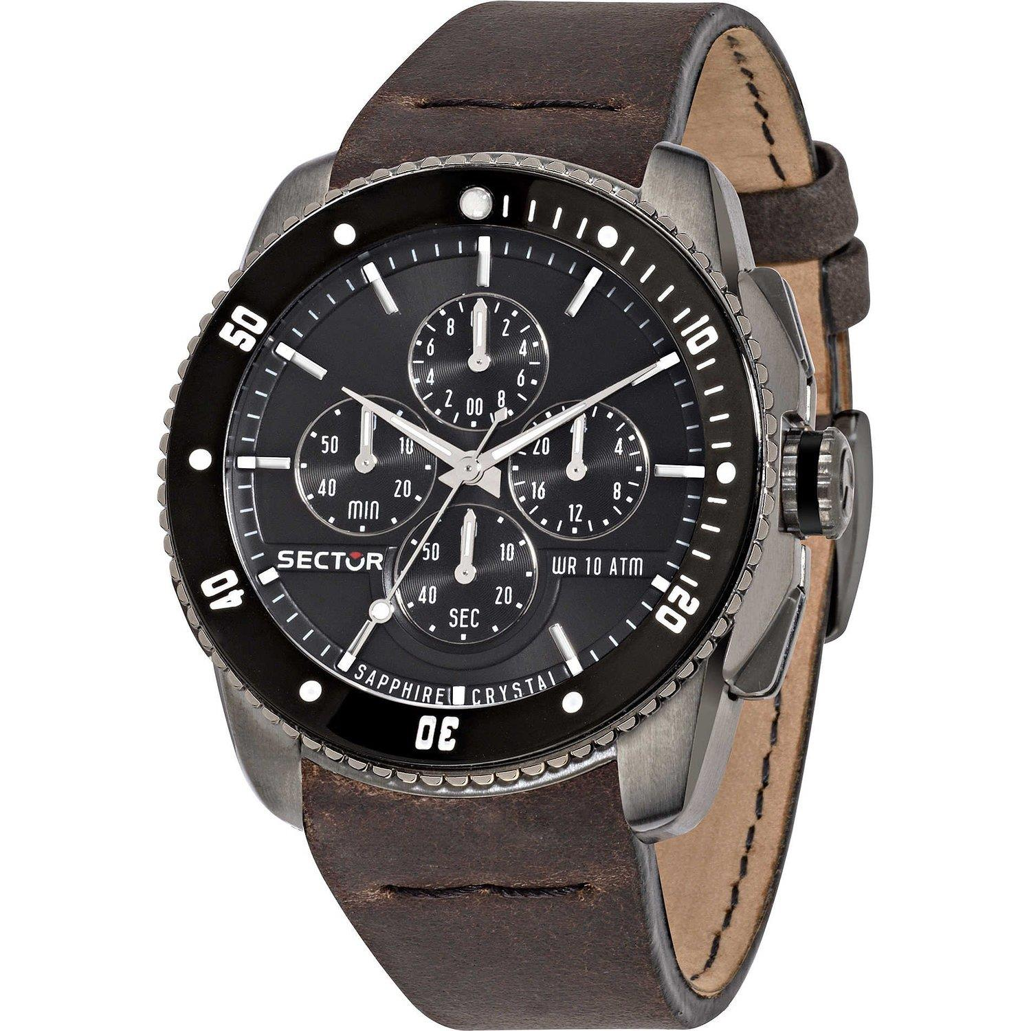 Sector Men's 45mm Brown Leather Band IP Steel Case Sapphi...